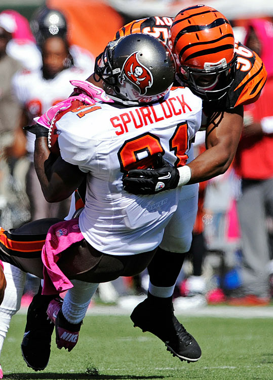 Tied 21-21 with 25 seconds remaining in a Week 5 game against the Bengals, Buccaneers quarterback Josh Freeman found Spurlock on the sideline for a 21-yard gain.  Replay showed that Spurlock failed to maintain possession of the football as he struck the ground, yet the officials upheld the call. The Buccaneers made a game-winning field goal on the next play.