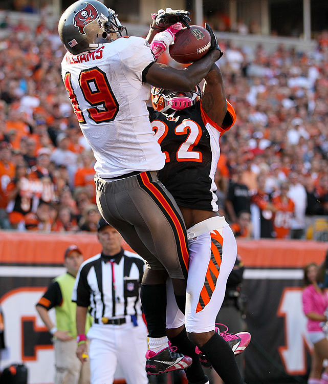 Wisdom is often thought to be derived through experience, but as the young Josh Freeman and Mike Williams showed on Sunday, the two are not mutually exclusive.  After watching cornerback Johnathan Joseph sit inside on Williams throughout the first half, Freeman directed Williams to run a go route to burn the cheating cornerback.  With 1:26 left in the fourth quarter, Williams exploited Joseph by running deep, and Freeman found him all alone in the end zone for six points and an eventual victory over the Bengals.