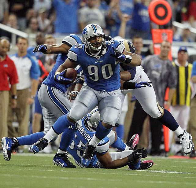 In the matchup of the first two selections of the 2010 NFL draft, Ndamukong Suh showed he might be the better pick by getting an interception.  Following the lead of fellow defensive lineman this week, Suh tipped a Sam Bradford pass, caught it and ran 20 yards to set up a field goal.  While both players have looked fantastic in their rookie years, Suh is really looking like a special player.