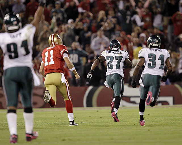 Candlestick Park has been very kind to the Philadelphia Eagles defense.  In their past three games at the Bay Area stadium, the Eagles have produced defensive touchdowns.  Mike Patterson returned a fumble 98 yards for a touchdown in 2006; Juqua Parker had a 55-yard interception return in 2008; and Quintin Mikell, in the opening minutes of the fourth quarter versus the San Francisco 49ers, returned an Alex Smith fumble 52 yards for the latest spectacular Eagles touchdown.  Mikell was on the roster for the other touchdowns, but this was his first taste of the end zone.