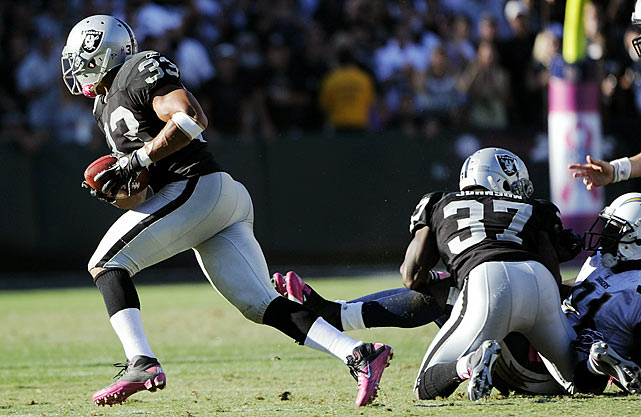 It took a lot for the Raiders to end their 13-game losing streak to the San Diego Chargers. No play however, was more vital to the Raiders' victory than  Branch's fumble recovery for a TD.  Leading 28-27 with less than a minute left in the game, the Raiders' lead seemed in peril as Philip Rivers marched the Chargers down the field.  But on second-and-20, Rivers dropped back and was sacked by Michael Huff. Branch picked up the loose ball, and rather than falling on it he scampered 68 yards for a TD, sealing the victory.