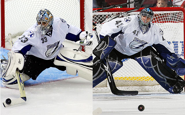 A pair of goalies who couldn't break through as youngsters in Dallas are reunited in Tampa after having shown flashes elsewhere at the NHL level. What does it all mean? A rotation based on gut feel by new head coach Guy Boucher as he tries to coax consistency out of his streaky tandem.   Click HERE  for Darren's take on the goaltending trend in the NHL.