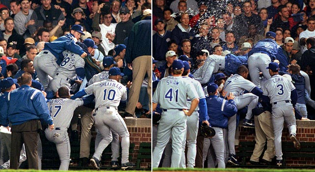 After being showered with beer and abuse as they sat in their bullpen at Wrigley Field, Dodgers relievers took matters into their own hands when a fan stole the cap off catcher Chad Kreuter's head. Kreuter, his teammates and even Dodger coaches John Shelby and Rick Dempsey went into the stands to exact revenge. In all, 16 Dodgers and three coaches were suspended.
