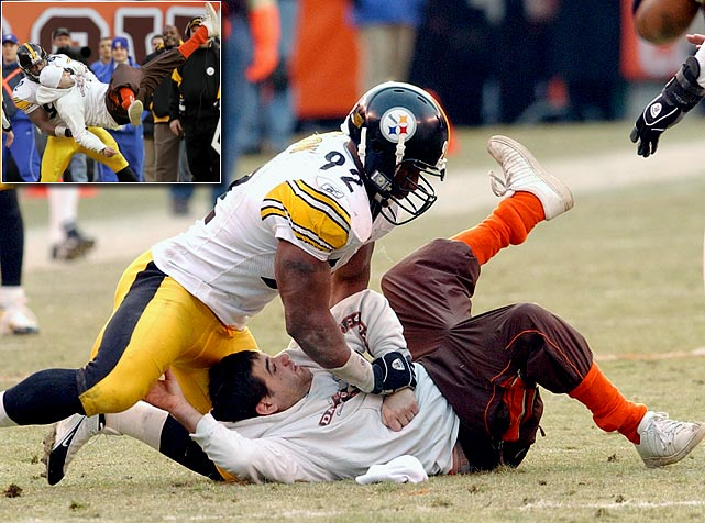 "When a fan ran onto the field during the fourth quarter of Pittsburgh's 41-0 rout in Cleveland, the Steelers linebacker flattened him and kept him down until security arrived with handcuffs. ""I basically took him down because when he first came out, he took off after (teammate Verron Haynes], then he was backing up near our sideline,"" said Harrison, who received no punishment from the NFL. ""I don't know if he had anything on him or whatever. So I felt like, with his back to me, I could take him down without risking injury to myself or my teammates and hold him there until the proper authorities came.""    CLICK HERE  to watch the video."
