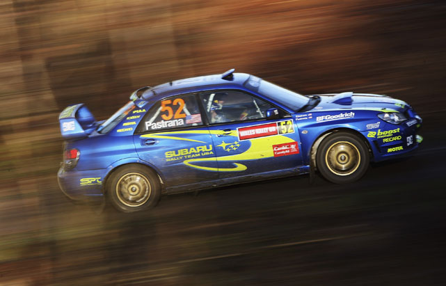 Pastrana has shown both his two-wheel and four-wheel dominance by transitioning from FMX to rally car racing in recent years. Here he competes at the FIA Wales Rally GB.