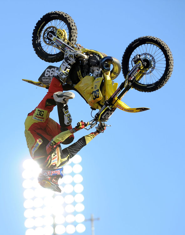 Pastrana took home his seventh X Games gold medal in the Moto X Freestyle at the Los Angeles Coliseum in July. After clinching victory in just two runs, Pastrana used his final go to perform a double backflip.