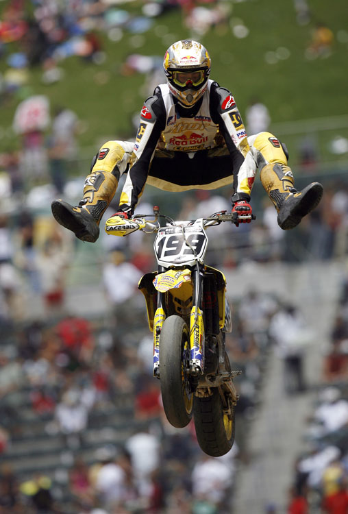 At the 2006 X Games, Pastrana competed in an impressive four events. He not only walked away with the gold in MotoX Freestyle, but with two more first-place prizes in MotoX Best Trick and Rally Car racing.