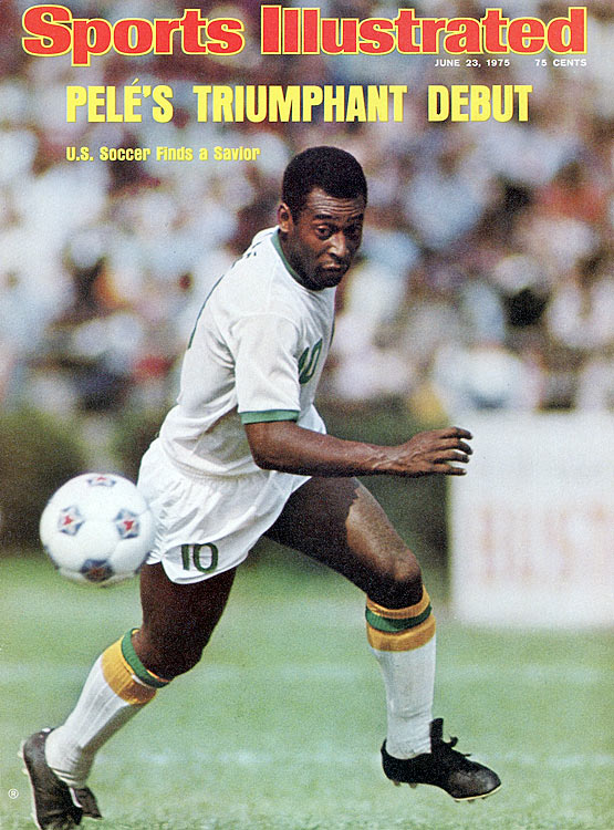 Pele graces the cover of Sports Illustrated after joining the New York Cosmos in 1975.  His debut in the U.S. helped popularize a sport in a nation that was behind the rest of the world.