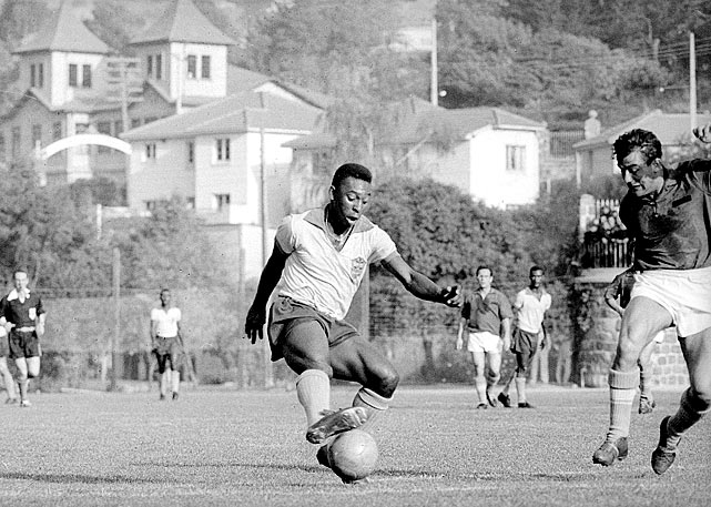 Pele impresses opponents with his moves while training for the 1962 World Cup.  The tournament itself would be a disappointment, as he injured himself during Brazil's showdown with Czechoslovakia.