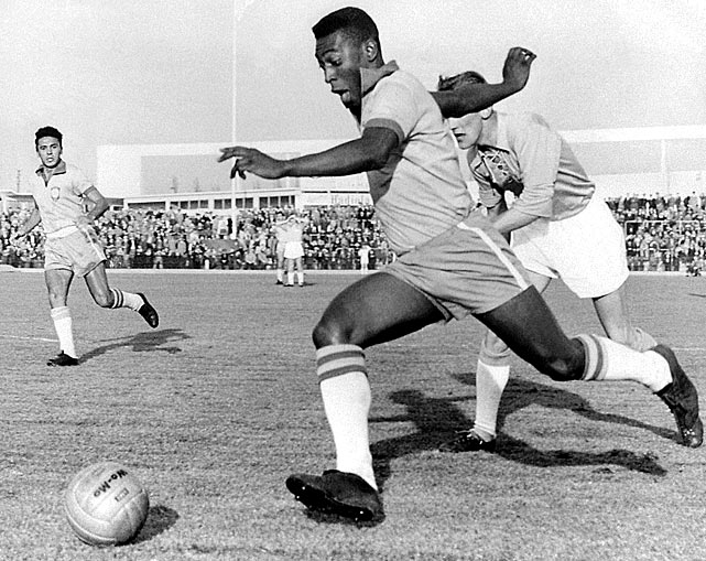 During a friendly in Sweden, Pele blows by the competition.  He and his Brazilian teammates smoked their Malmoe opponents, capturing a comfortable 7-1 victory.