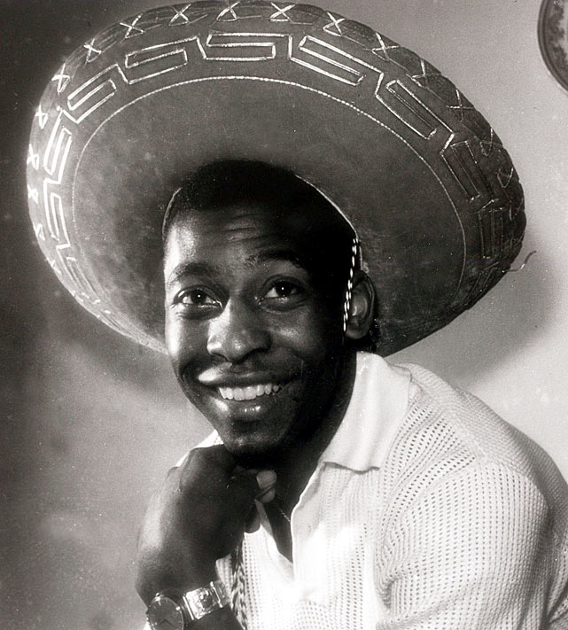 Pele smiles for the camera while wearing a Mexican-style sombrero.