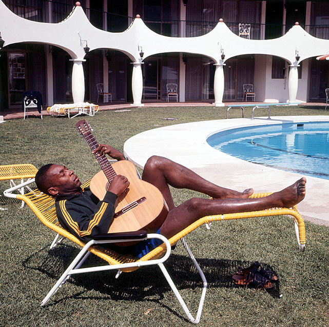 Pele relaxes by the hotel pool with his guitar after the 1970 World Cup in Mexico.  The tournament was music to his ears, as Brazil claimed its third World Cup title.
