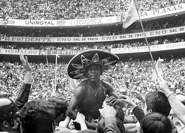 In his fourth and final World Cup, Pele led a Brazil squad that many consider to be the greatest ever.  They coasted to six straight victories, including a 4-1 win over Italy in the final.  Pele scored a goal in the 18th minute and was carried off the pitch by adoring fans while wearing a sombrero.