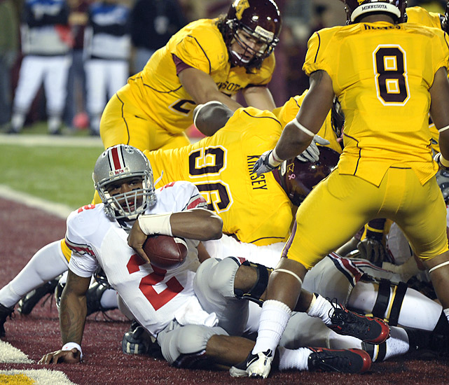 The Buckeyes took care of business Saturday, dusting off the Gophers and working their way back into national title contention. Quarterback Terrelle Pryor (left) passed for 222 yards and two touchdowns while running back Dan Herron rushed for 114 yards and a score in the victory.