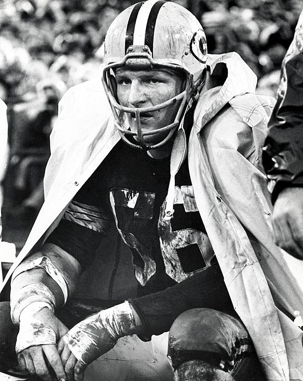 Linebacker Ray Nitschke sits on the bench in 1968.
