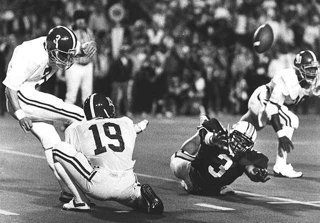 With time dwindling, Alabama got the ball on their own 12-yard line trailing 23-22.  They marched down the field, but faced a 52-yard field goal for the win.  Some Crimson Tide teammates didn't think kicker Van Tiffin had the leg for it, but without any other options they went for it.  As time expired, Tiffin proved the critics wrong, splitting the uprights for the victory.