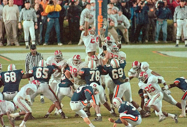 "In 1997, Auburn had their own version of ""The Kick,"" though the field goal was shorter and there was more time left on the clock.  Nevertheless, Tiger fans vividly remember when Jaret Holmes knocked the ball through the uprights to propel Auburn to their first SEC Championship Game with an 18-17 victory."