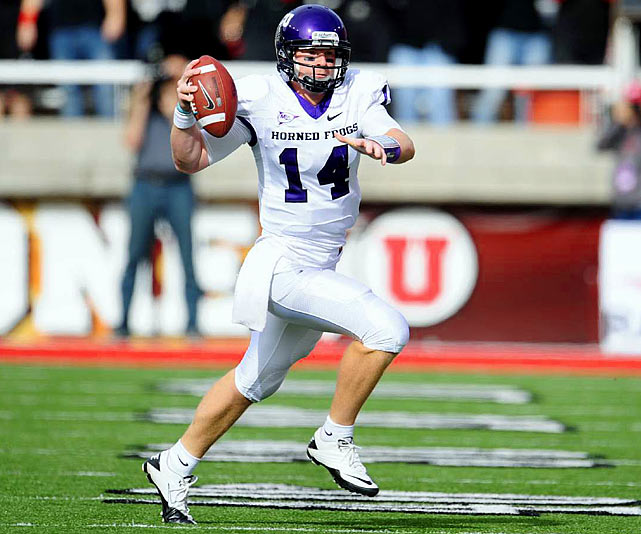 Last Week:  21-of-26 passing for 355 yards and three TDs; five rushes for 15 yards in 47-7 win over Utah   Season:  143-of-217 passing for 1,887 yards, 16 TDs and five INTs; 65 rushes for 404 yards and five TDs; one reception for 27 yards  While TCU proved it belongs among the nation's elite in shellacking Utah, Dalton also proved he deserves a spot among the game's top quarterbacks. He was nearly flawless in picking apart the Utes' 10th-ranked pass defense, eclipsing his previous career-high of 344 yards set in '07. In the last eight games, Dalton has posted three of the top seven single-game completion percentages in school history and he's now thrown for over 2,000 yards in four straight seasons.   Next Up:  Saturday vs. San Diego State