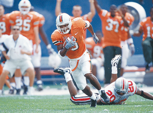 A walk-on for the Miami Hurricanes in 1997, Moss would graduate as the school's leader in receiving yards (2,546) and all-purpose yards (4,393).
