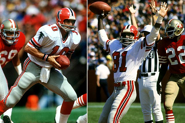 "Bartkowski strikes again.  He might not be an all-time great, but Bartkowski, the Falcons career passing yards leader, was as clutch as can be for the Dirty Birds.  In 1983 he did it again as the Falcons trailed the 49ers 24-21 late in the fourth quarter.  Bartkowski heaved the ball toward the five-yard line, where a crowd of players tipped the ball into the hands of Billy ""White Shoes"" Johnson at the seven-yard line.  In the confusion that followed the tip, Johnson was able to squirm into the end zone for a touchdown and the victory."