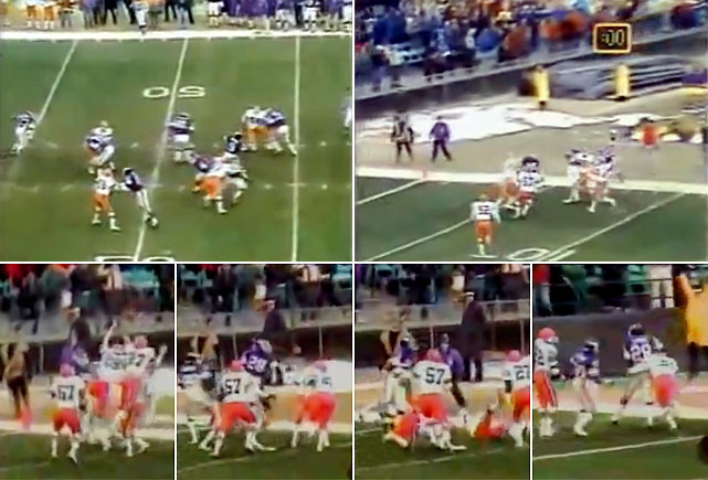 With 12 seconds left, and trailing the Browns 23-22, the Vikings began their march down the field. On the first play of the drive, quarterback Tommy Kramer found tight end Joe Senser over the middle of the field for a 27-yard gain.  Conscious of the game clock, Senser stepped out of bounds at Cleveland's 47-yard line, leaving only one second on the clock.  With only one play left in regulation, Kramer snapped the ball and let the ball fly toward the end zone.   A fracas for the ball broke out between the Browns and Vikings in the air space above the end zone, but a forgotten Ahmad Rashad was able to secure the ball and fall into the end zone after the ball was tipped.