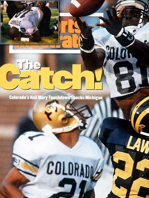 With six seconds left in the game, the Colorado Buffaloes were trailing the Michigan Wolverines 26-21. Buffaloes quarterback Kordell Stewart threw the ball over 70 yards to the end zone, where the ball bounced off Michigan safety Chuck Winters and Colorado receiver Blake Anderson before Colorado receiver Michael Westbrook finally secured the ball for the touchdown and the win.