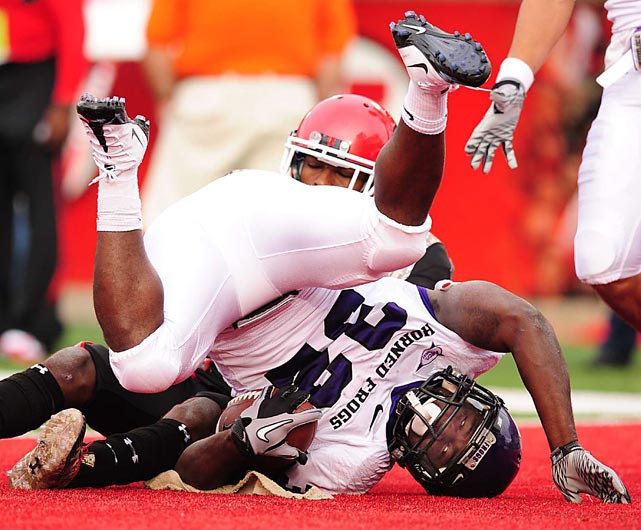 Waymon James of TCU scores a touchdown against the Utah Utes during the Horned Frogs 47-7 victory at Rice-Eccles Stadium in Salt Lake City.