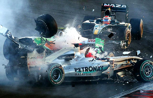 Mercedes GP's Michael Schumacher crashed with Force India's Vitantonio Liuzzi during the Abu Dhabi Formula 1 Grand Prix at the Yas Marina circuit in Abu Dhabi. Neither car finished the race, which was won by RBR Renault's Sebastian Vettel.
