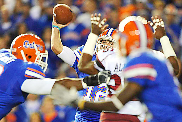 Florida quarterback John Brantley drops back to pass during the Gators' game November 13 against the South Carolina Gamecocks in Gainesville. South Carolina defeated Florida 36-14.
