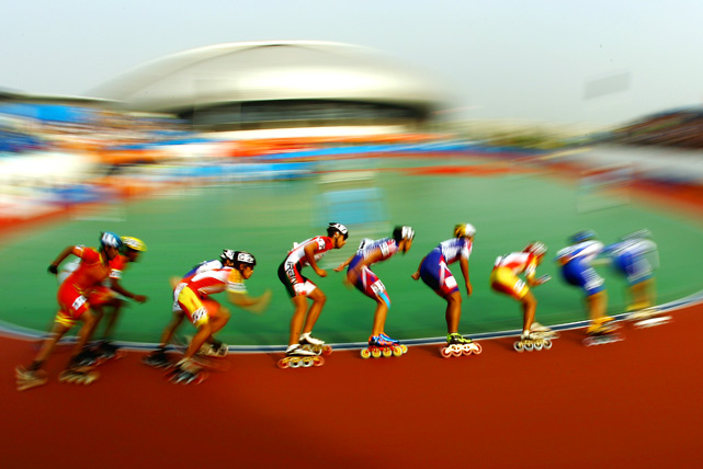 Competitors in action during the Roller Sports 10000-meter points elimination race at the Guangzhou Velodrome during Day 12 of the 16th Asian Games on Nov. 24 in Guangzhou, China.