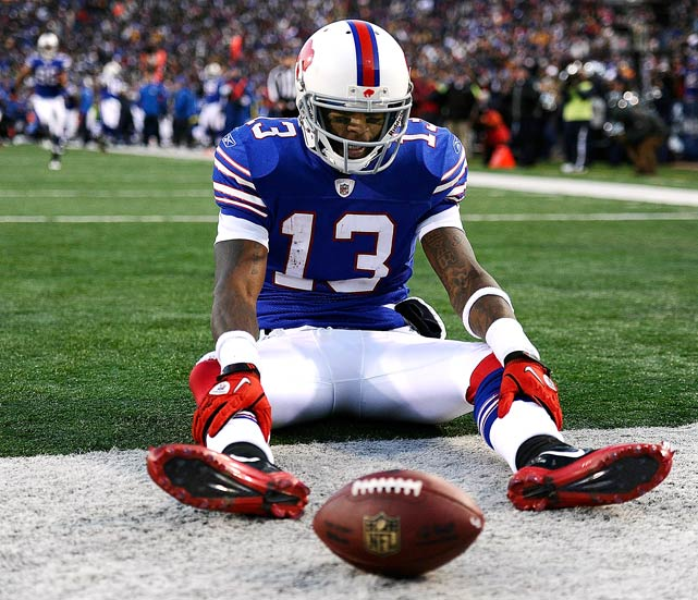 Wide receiver Steve Johnson of the Buffalo Bills reacts after dropping a pass in the end zone during overtime against the Pittsburgh Steelers on Nov. 28 in Orchard Park, N.Y.  The Steelers took advantage of the miscue and defeated the Bills 19-16.