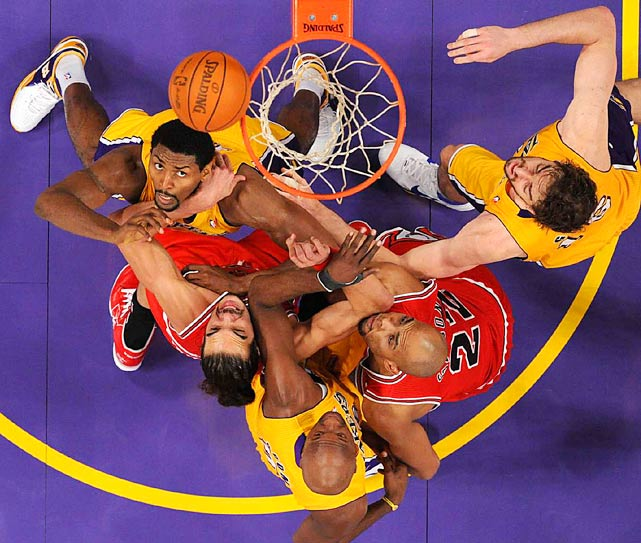 Los Angeles Lakers and Chicago Bulls players vie for a rebound during their Nov. 23 game at the Staples Center in Los Angeles. Clockwise from top right: Pau Gasol, Taj Gibson, Lamar Odom, Joakim Noah and Ron Artest. The Lakers defeated the Bulls 98-91.