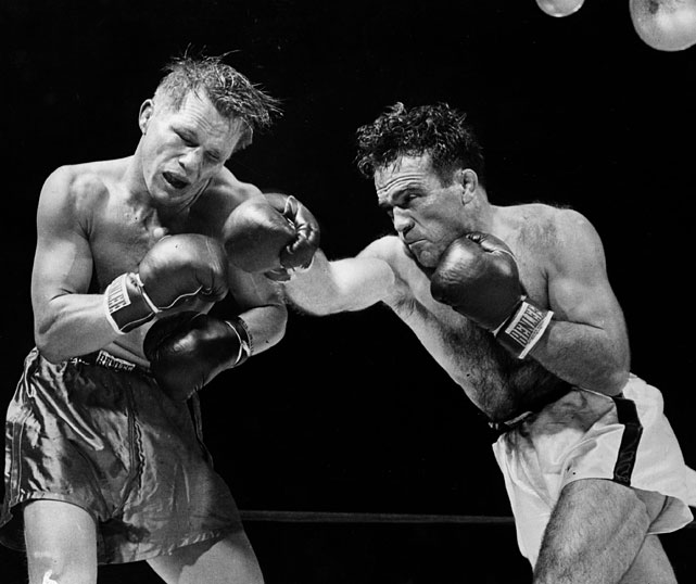 Cerdan ( right ) stopped Tony Zale for the title at Roosevelt Stadium in Jersey City, N.J., but lost it to Jake LaMotta less than nine months later. It was the last fight of Cerdan's career. He signed a contract for a rematch with LaMotta, but died in a plane crash while traveling to visit girlfriend Edith Piaf in New York.
