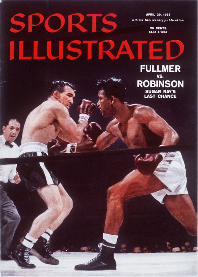 "Robinson regained the middleweight title a fourth time with a devastating left hook that many boxing observers have called ""the perfect punch."" It marked the durable Gene Fullmer's first knockout loss in 44 career bouts."