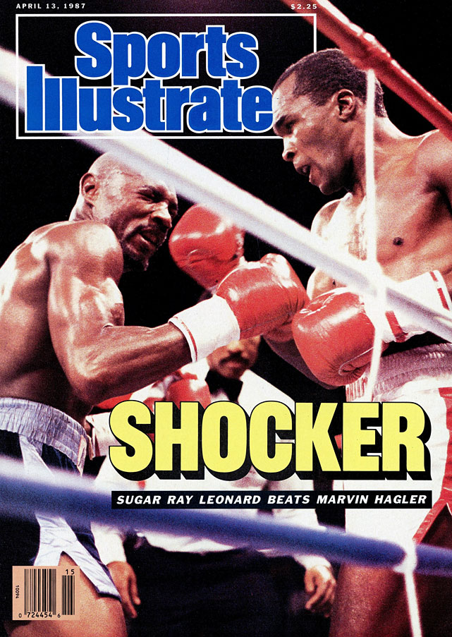 Leonard's first fight at 160 pounds -- after three years out of boxing -- was a successful challenge for Marvin Hagler's WBC and lineal titles. After winning a controversial split decision, Leonard retired until subsequent comebacks in 1989 and '97.