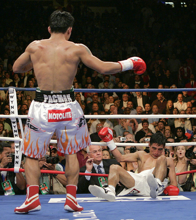 Morales bravely tried to stand toe-to-toe with Pacquiao in the highly anticipated rubber match, but the strategy proved ill-advised. Pacquiao put an exclamation point on the trilogy with a third-round knockout of the Mexican warrior.