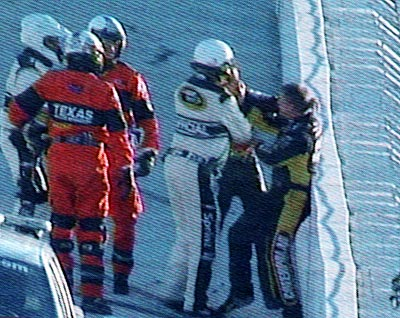 Four-time Cup champion Jeff Gordon and fellow driver Jeff Burton came to blows following the eighth race of the Chase, at Texas. After the two wrecked on Lap 192 of the race, Gordon hopped out of his No. 24 Chevy and shoved Burton before the two were separated by officials.