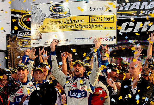 Jimmie Johnson's unprecedented fifth straight Sprint Cup title may have been his most impressive of all. He not only had to erase Denny Hamlin's 15-point lead entering the Chase finale at Homestead, but he also had to overtake Hamlin in the final 69 laps, ultimately finishing second in the race -- and 39 points ahead of Hamlin in the final 2010 standings.