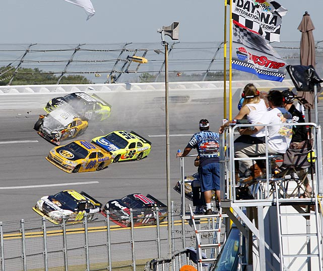 Jeff Burton sustained the most damage from the wreck with Dale Earnhardt Jr, Later Junior would apologize to Burton for the bumpdraft gone bad that sent the No. 31 into the wall and out of the race.