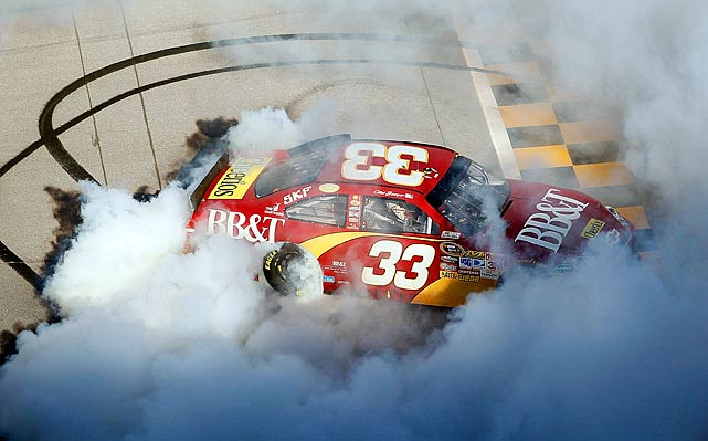 Bowyer celebrates after winning his second Chase race at Talladega.