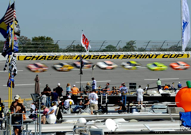 Jimmie Johnson leads the points race after competition at the legendary 2.66-mile tri-oval.