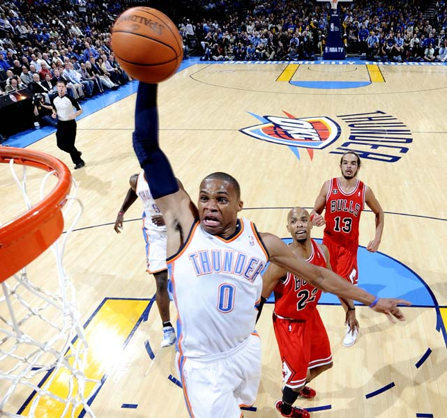 He's not just Kevin Durant's sidekick in Oklahoma City. In fact, Russell Westbrook's play was so impressive over his first two seasons that he represented Team USA at the 2010 FIBA World Championship. And during the 2010-11 season, his production sky-rocketed, with career highs of 21.9 points, 8.2 assists and 1.9 steals. The Thunder locked him into a five-year extension worth nearly $80 million in 2012.