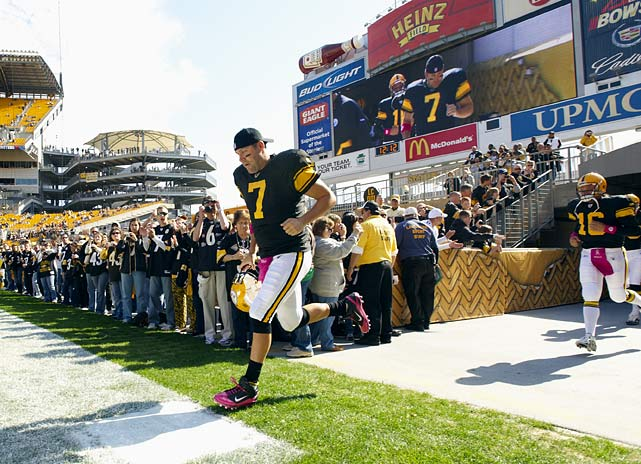 Big Ben's four-game suspension ended Oct. 17 against Cleveland, when the veteran quarterback guided the Steelers to a 28-10 victory.  He showed some rust, throwing an early interception, but rebounded to rack up 257 yards passing and three touchdowns.  Roethlisberger was greeted by a chorus of cheers as he trotted onto Heinz Field for the game, something that must have come as a huge relief after an offseason fraught with criticism.