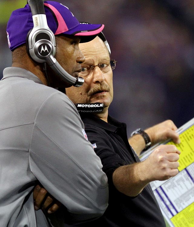 Brad Childress' nightmare in Minnesota finally ended on Nov. 22, when owner Ziggy Wilf acquiesced to his fan base and cut his struggling head coach before a Week 12 matchup with Washington.  The firing came months after Childress sent veterans to coax Brett Favre out of retirement, and just weeks after the coach openly questioned Fave's decision-making following a 28-24 defeat to the Packers.  Interim head coach Leslie Frazier (left) guided the team to a 17-13 win as Chilly's replacement and was named the new coach at season's end.