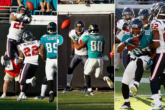 Locked in a 24-24 tie with three seconds remaining, the Jaguars seemed destined for overtime in their Nov. 14 contest with the Texans.  In a last-ditch effort, quarterback David Garrard launched a 50-yard floater into Houston's end zone, which was quickly batted down by Glover Quin.  The ball miraculously ricocheted into the arms of Mike Thomas, who skipped across the goal line for a game-ending touchdown.
