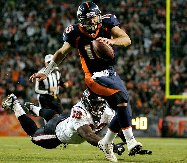 After selecting Tim Tebow with the 25th pick of the 2010 draft, Denver benched their rookie to let him mature behind Kyle Orton.  They showcased his progress Dec. 26 against Houston, when Tebow threw for 308 yards and a touchdown to lead the Broncos to a 24-23 victory. He even showed off the running ability that made him so coveted at Florida.  His six-yard touchdown scamper in the fourth quarter completed Denver's comeback from a 17-0 halftime deficit.