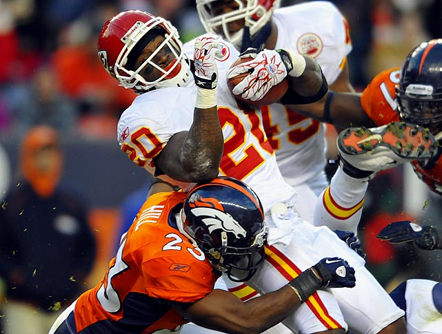 Four rushes for three yards; one reception for 19 yards in 49-29 loss to the Broncos.