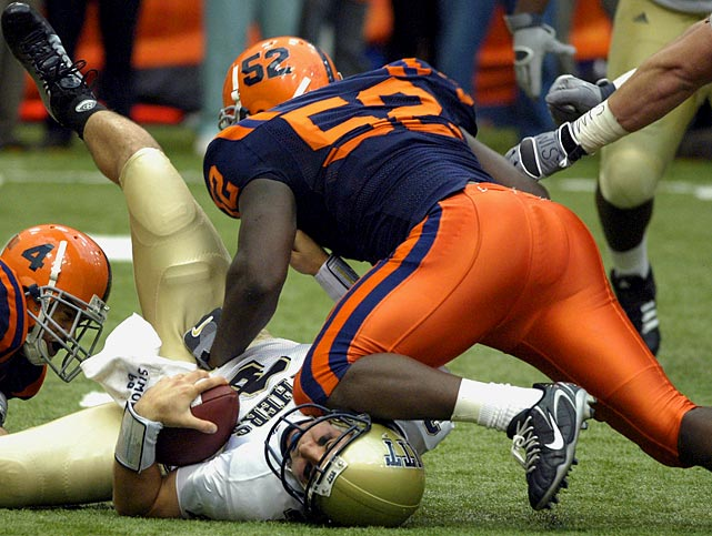 McClain finished his four-year career at Syracuse ranked seventh in school history for tackles for a down lineman (177) and 11th in tackles for loss (21.5).  He switched from lineman to linebacker early in 2006.