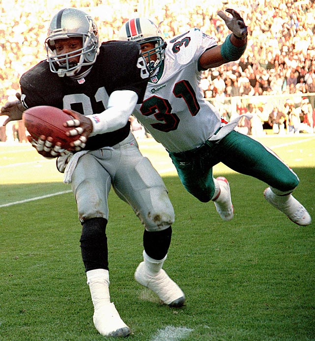 Tim Brown, known as Mr. Raider, spent 16 years with the organization and holds the franchise record for most games played (240), most touchdowns scored (104), most receiving yards (14,734) and most all-purpose yards (14, 924).