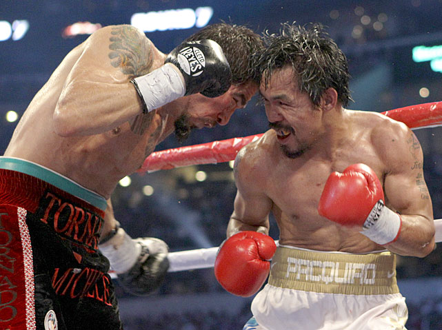 Pacquiao showed a willingness to trade with Margarito, who had advantages in weight (17 pounds), height (4½ inches) and reach (6½ inches).